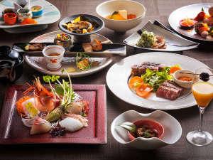 【もりの風茶寮・一例】北海道と全国各地の名物をテーマとした和食会席です(画像は春メニュー)
