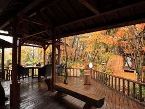 【だんぶり茶屋】当館裏手にあります。ぼーっとするにもいい場所!秋風が流れる気持ちいい空間です