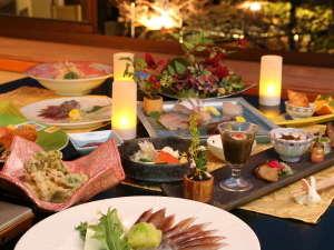 いけがみ流日本料理~春夏会席の一例~ホタルイカや岩牡蠣など