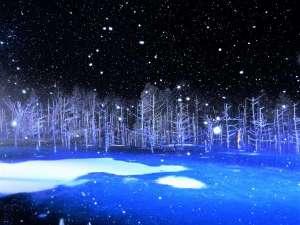 冬季間限定の「青い池」ライトアップ