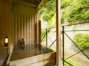 特別室の露天風呂。新緑に囲まれて。