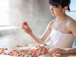 【当館自慢】日本初!甘く香る赤いちごと白いちごを使った『貸切いちご風呂(有料)』でリフレッシュ!