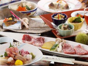 【花の膳】「前沢牛の陶板焼」赤身とサシの食べ比べ!※画像はイメージです。