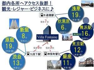 新宿・渋谷・原宿・秋葉原・銀座など東京主要地へ電車ですぐ!