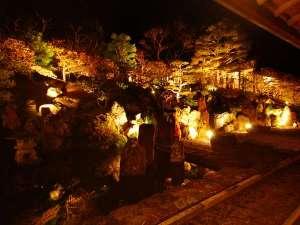 5分毎にライトの色が変わる中庭
