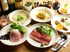 オーナーママの創作ディナー一例。四季の素材を織り込んだお料理は季節ごとに違うメニューでお楽しみ。