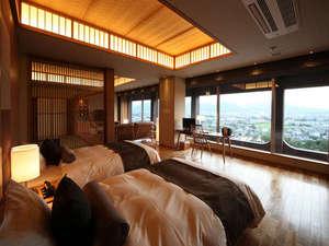 半露天風呂付和洋室「栞」シモンズ製のベットでゆっくり休めます。