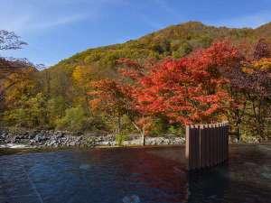 【渓流露天風呂】眼下に奥入瀬渓流を望む絶景露天風呂。秋には美しい紅葉も楽しめます。