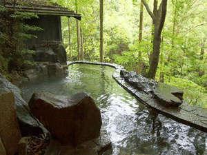 *目の前に広がる槙原渓谷を見晴らす 野趣あふれる薬湯(びわの葉)露天風呂