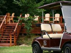 GWからクラブカーに乗って森の散策やお花畑を巡る事ができます。