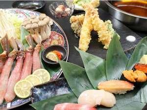 かにしゃぶと握り寿司、天ぷらの豪華夕食セット