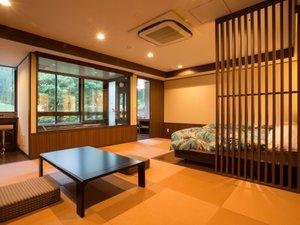 【改装オープン】半露天風呂付き客室☆窓辺のお風呂で癒される♪※温泉ではありません。