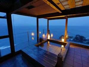 【貸切露天風呂】駿河湾と富士山・夕日をご覧になれる貸切風呂「夕日のかがやき」