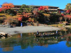 【紅葉】対岸からの長生館の紅葉です