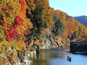 【11月は長瀞紅葉まつり♪】徒歩3分・紅葉と岩畳に挟まれながら進むラインくだり。