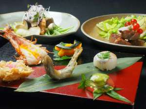皐月料理:前菜、油物、洋皿一例