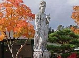 敷地内には四季折々様々な表情を見せる美しい長寿観音像が建立されております。