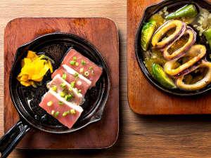 【青函市場一例】鉄板料理はご注文頂いてから出来立てをお届けします(季節によって変更)
