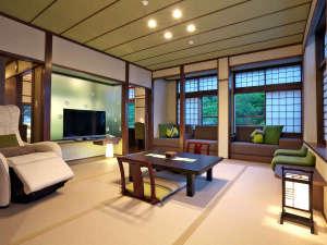 【泉游亭・わたすげ】和室+洋ベッドルーム<禁煙>人気の泉游亭。わたすげにはマッサージチェアーも完備。