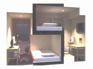 シングルタイプ客室・ベッドはダブルサイズです。(幅140cm全長200cm)
