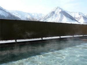 【冬の別館露天風呂】温泉でのんびり、目の前に広がる大パノラマをお楽しみいただけます♪