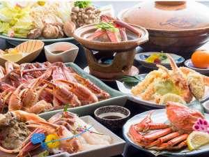 カニ2.5杯!活け松葉ガニの刺身、甲羅みそ、天ぷらが付いた大満足間違いなしの贅沢フルコースです!!