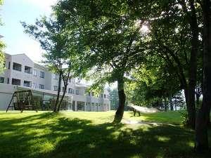 緑の庭のハンモックやブランコ、ベンチでゆったり高原リゾート満喫♪