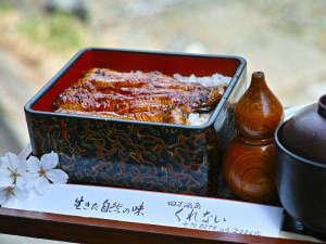 *【春】夕食一例/四万温泉で蒸し上げたくれない名物の湯蒸しうなぎ