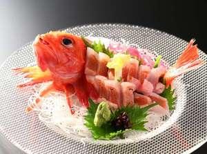 『海幸競い』B・駿河湾産の高級魚「キンキのお造り」きゅっと引き締まった身の歯ごたえがたまりません。