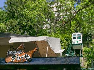駐車場から『ケーブルカー』に乗って、緑豊かな渓谷の斜面を登るとロビーに到着☆彡