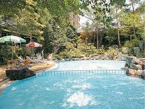 無料で何回も利用可能☆夏季限定の庭園プール☆寒い時はプール横にある小さな温泉にどうぞ♪(※^^※)