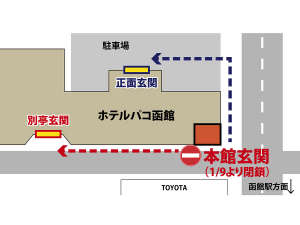 【1/9より】パコ函館本館改装工事のため、本館の玄関を閉鎖します