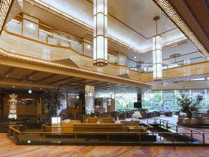 ホテルラウンジ「土笛」、吹抜け部分は、出雲の国の大地と空と水をイメージしています。