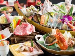 【贅沢味覚会席】鳥取和牛、旬魚の舟盛り、鮑とロブスター!旬の味覚を贅沢に味わう※舟盛りは2名盛り