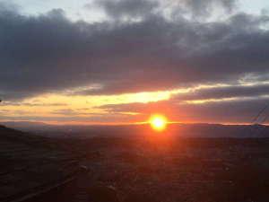 【客室】お部屋からの眺め。奈良大和の朝焼けを独り占め♪