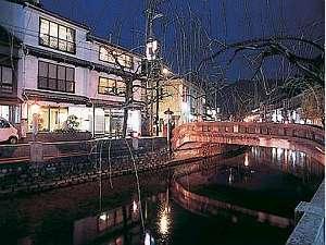 川口屋本館は風情溢れる柳並木沿い
