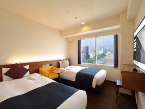 [エコノミーツイン]17平米のお部屋に幅95cmのベッドを2台ご用意します。