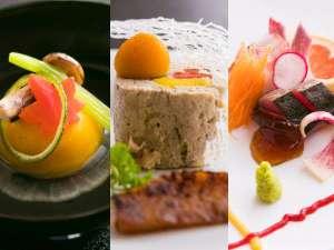高い評価を頂いている『四季懐石』。素材と技、美しさの3つを兼ね備えています。(9/1~の料理イメージ)