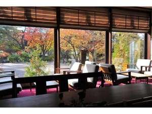 ラウンジからの眺め-秋の足跡が真近に。各種フリードリンクもご用意しております。