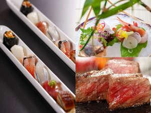 スタンダード会席は一口姫寿司、鳥取県産和牛のほか季節の料理