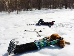 雪原に寝そべって空を見上げてみよう!犬と戯れるのもまた楽しい♪