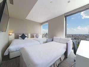 モデレートツイン+ソファーベッド付客室 24㎡ 3名様利用時のソファーベッド設置例 ※窓が1つの場合有。