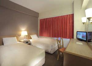 ツインAタイプ お部屋の広さ18.3平米・ベット幅100センチ Wi-Fi接続可能
