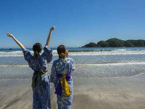 波打ち際まで徒歩1分。1200mmのロングビーチ弓ヶ浜。