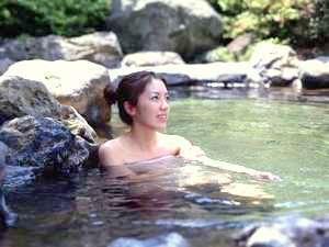 女性用露天風呂にて
