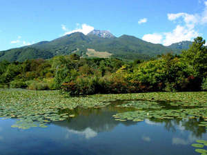 いもり池越しに見える妙高山は絶景です。