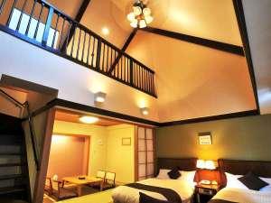 【温泉付特別室】 1階部分には、ツインベットと和室があります。