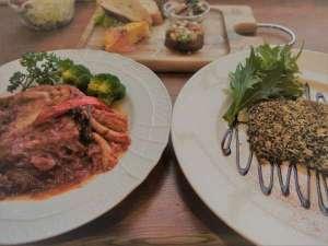 夕食の一例。一皿ごと順番にお出しします。