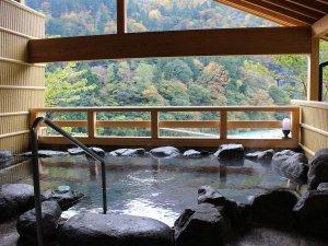離れ貸切露天風呂「せせらぎ」冬は雪見、秋は紅葉・・四季折々の黒部峡谷を眺めのんびり。