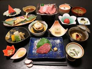 *【夕食一例】豊後牛の焼肉等、地のものや季節の食材を堪能!